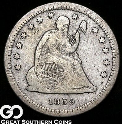 1859-S Seated Liberty Quarter, Ultra RARE and Highly Pursued Key Date!