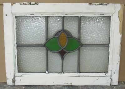 """OLD ENGLISH LEADED STAINED GLASS WINDOW Simple Geometric 20.25"""" x 14.5"""""""