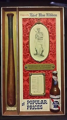 Vintage Pabst Blue Ribbon Beer Sign! Baseball's Old Time Batting Champions Nice