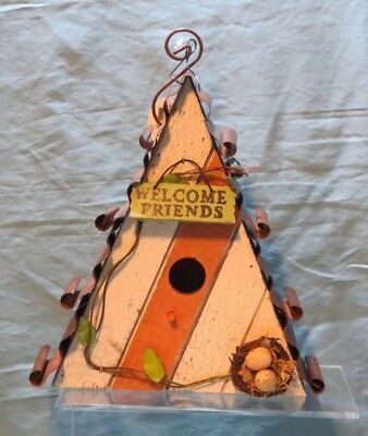 Rustic Decorative Hanging Bird House With Tin Roof