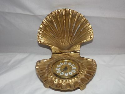 Old Gruber Alarm Clock-In A Clam Shell-Brass-5 Inch-West Germany-Nr!