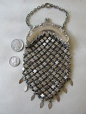 Antique Victorian Art Nouveau Silver T Chatelaine Clover Chain Mail Coin Purse
