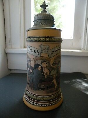 Antique Hauber and Reuther Etched German Beer Stein