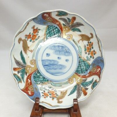 H620: Japanese OLD IMARI colored porcelain NAMASU plate with bird and flower
