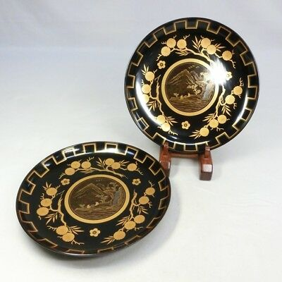 H469: High class Japanese old lacquerware pair of plate with great MAKIE.