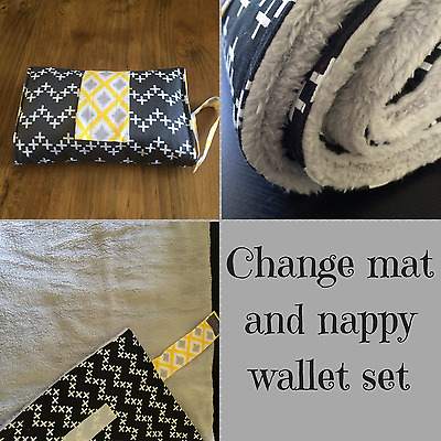 Nappy wallet/ diaper clutch & large waterproof change mat set grey and crosses