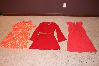 Lot: 3 Women's/juniors/ Sz 14/xl Dresses- Red & Coral No Boundaries/peach City S