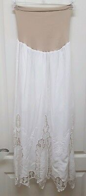Nwt ~A Pea In The Pod Maternity White W/ Lace Maxi Skirt Stretchy Waistband ~ Xs