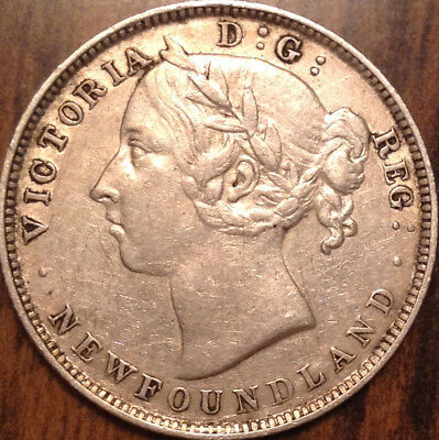 1896 Nfld Newfoundland Silver 20 Cents In Excellent Condition !