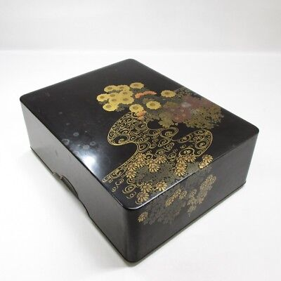 H583: Japanese OLD lacquer ware hand box BUNKO with bautiful flower MAKIE