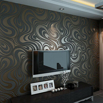 Modern Luxury Abstract Curve 3d Wallpaper Roll Mural Flocking Wall Paper Decor