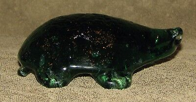 Antique Stoddard Glass Green Snapping Turtle Whimsy Door Stop Abstract