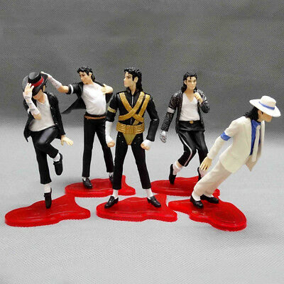 "King Of Pop Michael Jackson 5 Pose Figurines Set 4"" Figures Doll Statue"