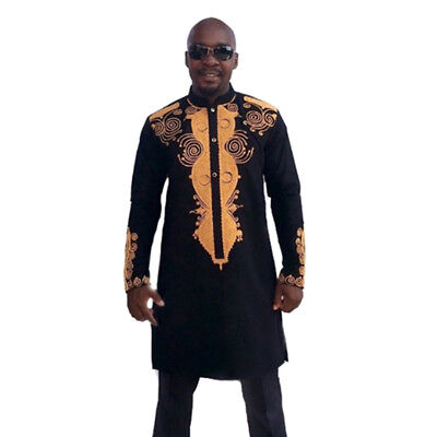 Men African National Dress Costumes Tribal Shirt Printed Long Sleeve Dashiki