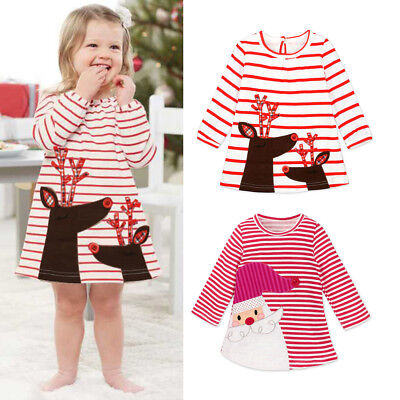 Christmas Toddler Kids Baby Girls Deer Striped Princess Dress Outfits Clothes