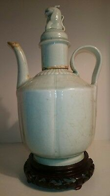H:24cm Old Antique Chinese Qingbai-Celadon Porcelain Teapot Ewer, Song Dynasty?