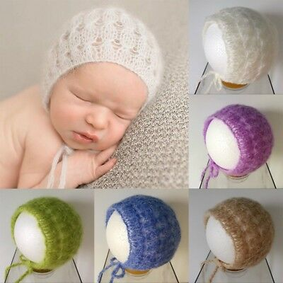 1x Baby Mohair knitting Bonnet Hat Newborn Photo Photography Prop Cap Outfits