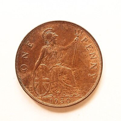1930 George V Penny A/UNC About Uncirculated Reasonable lustre SNo16501