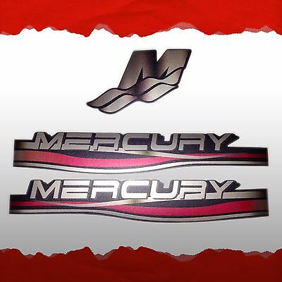 3x SILVER MERCURY VINYL DECALS STICKERS SET KIT OUTBOARD