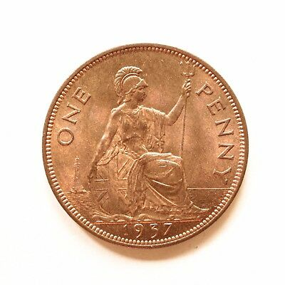 1937 George VI Penny UNC Uncirculated Really good lustre SNo26756