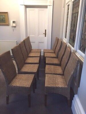 10 x Wicker Full Back Dining Chairs. Good condition