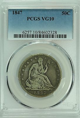 1847 Seated Half Dollar! Pcgs Vg10! 50C! Us Coin Lot #5845