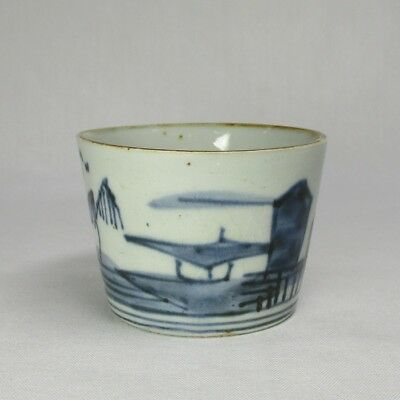 H608: Real old Japanese IMARI porcelain cup SOBA-CHOKO with landscape painting