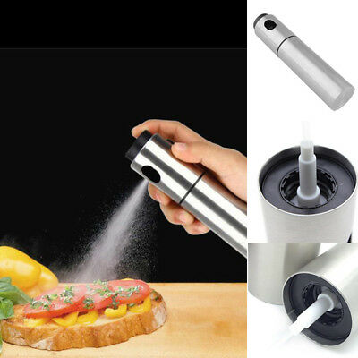 Silver Stainless Steel Olive Cooking Oil Spraying Bottle Vinegar Sprayer Tools