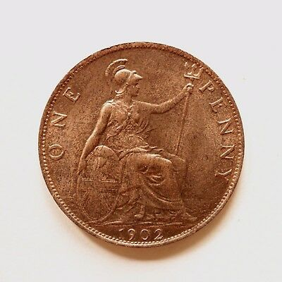 1902 Edward VII Penny A/UNC About Uncirculated Some lustre cover SNo40741