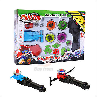 4D Beyblade Fusion Top Metal Master Rapidity Fight Toy Rare Launcher Grip Set