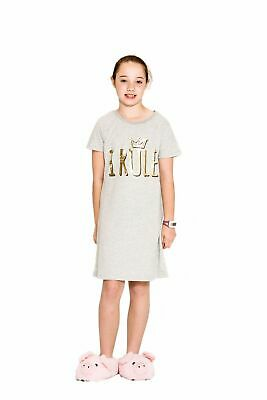 Girls PJs Size 8-14 Summer Short Sleeve Nighties Pyjamas Grey I Rule (744)