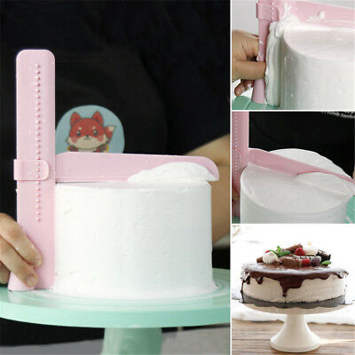 Adjustable Fondant Cake Icing Scraper Piping Cream Spatula Edges Smoother HS