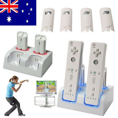 4 x TWIN/DUAL CHARGER DOCK WITH BATTERY RECHARGEABLE FOR WII REMOTE CONTROLLER