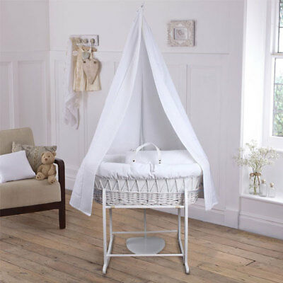 Clair de Lune Soft Waffle 6 Piece White Wicker Moses Basket & Drape Starter Set,