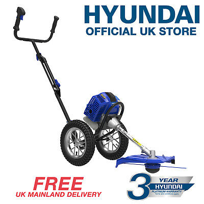 Hyundai Powerful 51cc 2-Stroke Petrol Wheeled Push Garden Grass Trimmer/Strimmer