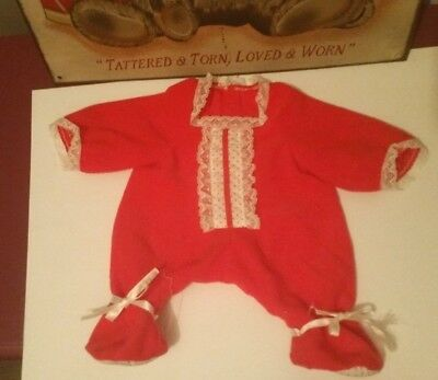 Red SLEEPER onsie my child 1985 rare htf vintage from de-box doll frayed ribbon