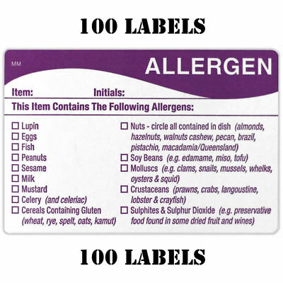 100 x FOOD ALLERGEN ALLERGY WARNING ALERT SAFETY STICKER/LABEL 100 LABELS FSA
