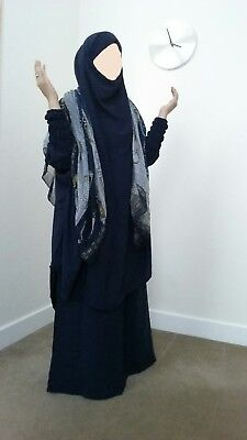 Navy Overhead Jilbab Abaya Khimar Hijab Islamic  Dress all in one 2peice Skirt