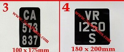 Motorcycle Number Plate Black & Silver with a Choice Pressed or Flat Metal  X 1