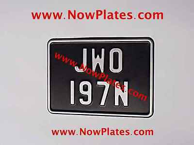 1 x Small Pressed Motorcycle Number Plate Black & Silver + Border7ins x 5ins