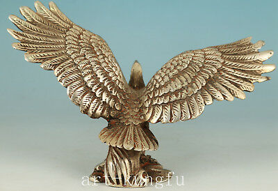 Chinese Copper Plating Silver Handmade Carved Eagle Statue Figure