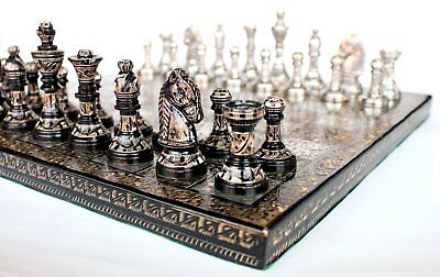"14"" x 14"" Collectible Premium Metal Brass Made Chess Board Game Set With 100% Br"