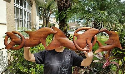 "GORGEOUS 38.5"" x 8"" HANDCARVED TEAK WOOD ""FAMILY OF DOLPHINS"" WALL DECOR !!!"