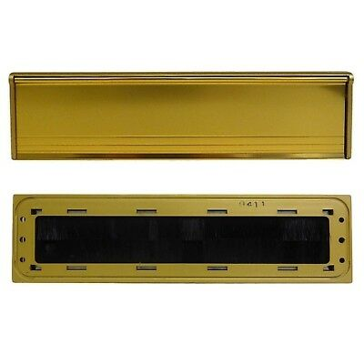 Internal Letter Box Cover Plate Draught Excluder Brush Seal Gold Aluminium Flap