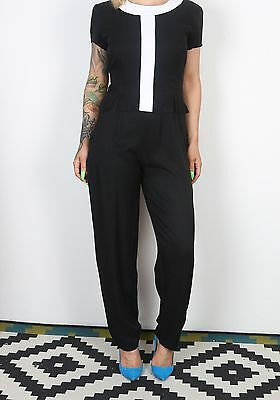 Jumpsuit UK 10 Small  All in one 1980's Vintage Monochrome  80's (63-P)