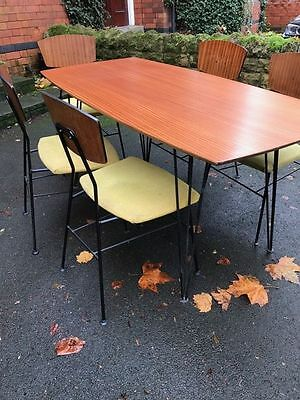 retro vintage table and chairs Conran Heals robin Day 1950s 60s era hairpin legs