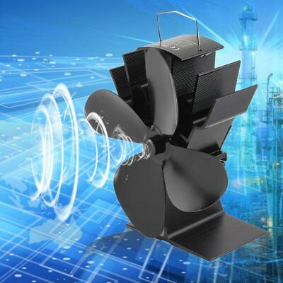 Durable 4 Blades Aluminum Black Heat Powered Stove Fan Fuel Saving Stove Fan NH