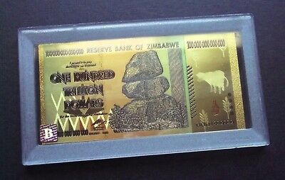 *new* 100 Trillion Dollar Zimbabwe Gold Plated Banknote + Display Case/bank Note
