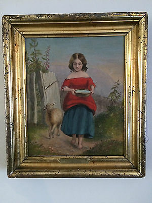 "Adorable Antique Oil Painting Canvas Girl Feeding Lamb 12.25"" X 10.5"" Framed"