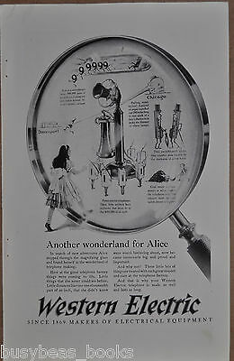 1925 WESTERN ELECTRIC advertisement, candlestick telephone Alice in Wonderland
